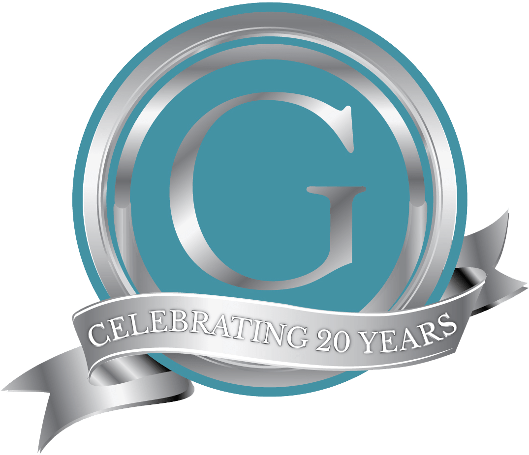 """Great Lengths Logo with Banner Text """"Celebrating 20 Years"""""""